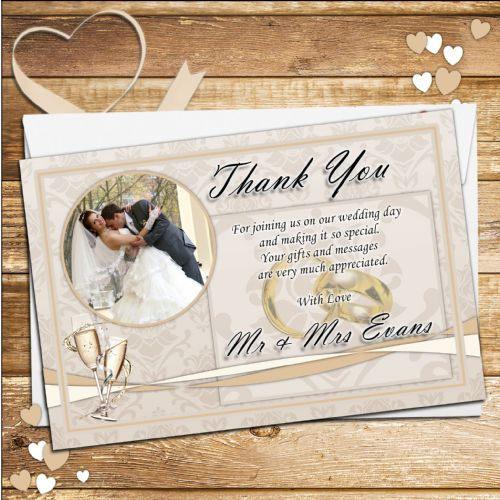 10 Personalised Elegant Gold Wedding Day Rings and Champagne Thank you Photo cards N236